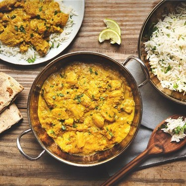 Creamy Chicken Korma with Cilantro Rice and Naan Recipe   SideChef