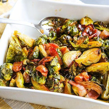 Maple Roasted Brussels Sprouts with Bacon Recipe   SideChef