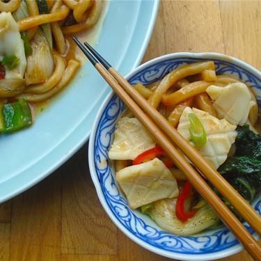 Stir Fried Squid, Udon & Bok Choy in Oyster Sauce Recipe | SideChef