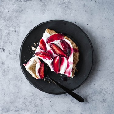 Roasted Plum Sheet Pan Shortcake Recipe | SideChef