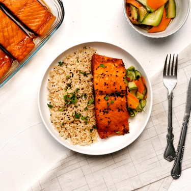 Teriyaki Salmon with Brown Rice and Pickled Vegetables Recipe | SideChef