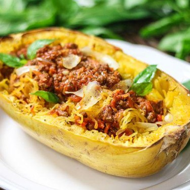 Spaghetti Squash with Easy Meat Sauce Recipe   SideChef