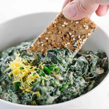 Spinach Kale Yogurt Dip with Whole Grain Crackers Recipe | SideChef