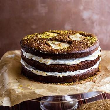 Flourless Chocolate Pistachio Pear Layer Cake Recipe | SideChef