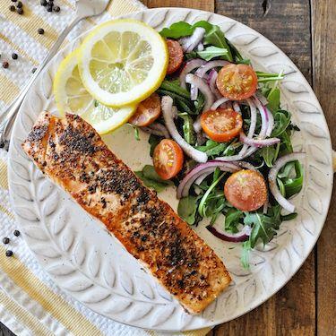 Pan-Seared Lemon Pepper Salmon with Arugula Salad Recipe   SideChef