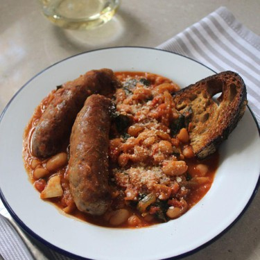 Sweet Italian Sausages with Braised White Beans and Kale Recipe   SideChef