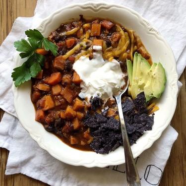 Sweet Potato Black Bean Chili Recipe   SideChef