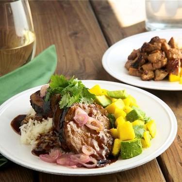Hoisin Glazed Pork Tenderloin with Avocado Mango Salad Recipe   SideChef