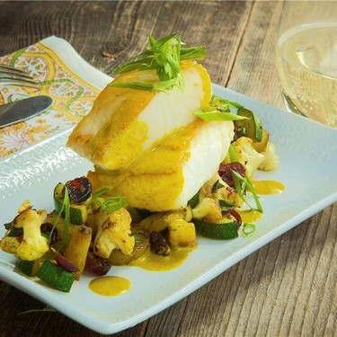 Pan Seared Halibut with Warm Curried Salad Recipe | SideChef