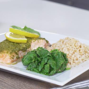 Basil Pesto Salmon with Spinach Recipe   SideChef