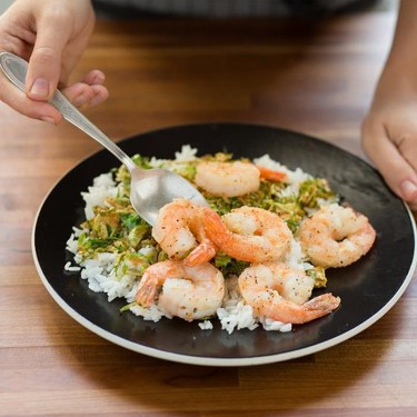 Peppercorn Shrimp with Tamari Brussel Sprouts Recipe | SideChef