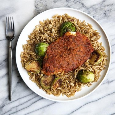 Parmesan Crusted Tilapia with Orzo and Sprouts Recipe   SideChef