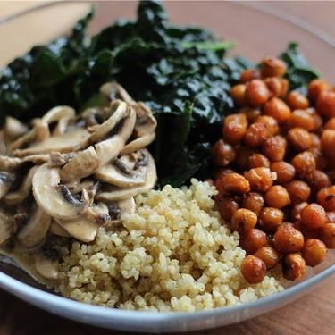 Roasted Chickpea + Mushroom Quinoa Kale Bowl Recipe | SideChef