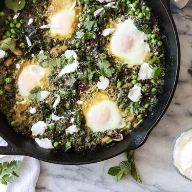 Green Shakshuka with Chard, Zucchini and Peas Recipe   SideChef