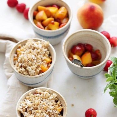 Peach Cherry Quinoa Crumbles Recipe | SideChef