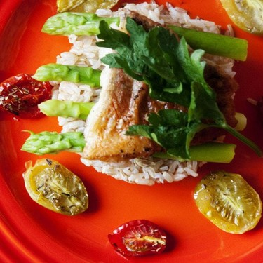 Pan-fried Red Snapper Fillet with Asparagus and Confit Tomatoes Recipe | SideChef