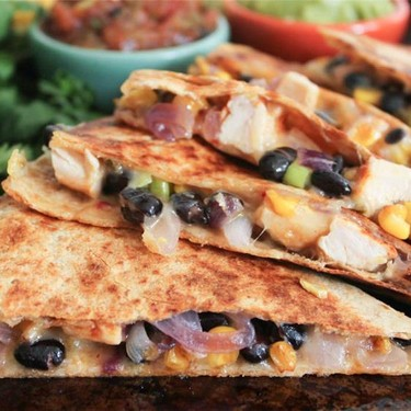 Spicy Chicken Quesadillas with Corn, Black Beans, and Caramelized Onions Recipe | SideChef