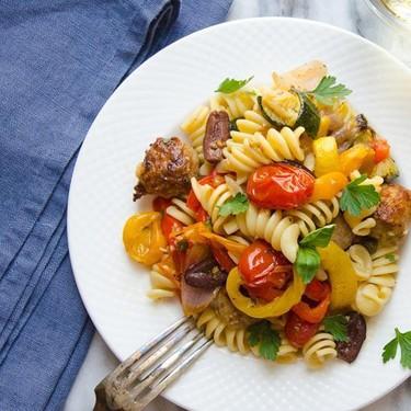 Roasted Italian Sausage, Veg and Pasta Recipe | SideChef