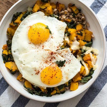Butternut Squash Kale and Farro Bowl with Eggs Recipe   SideChef