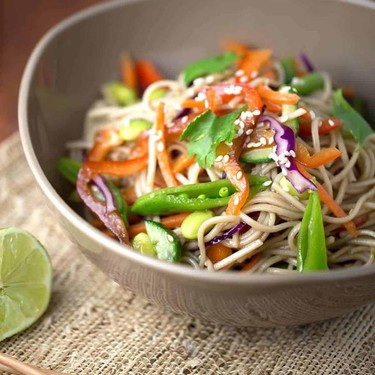 Asian Soba Noodle Salad with Soy Dressing Recipe | SideChef