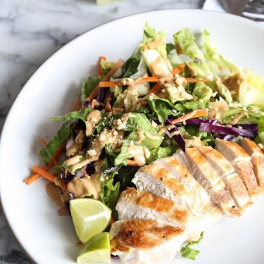 Easy Asian Chicken Salad with Peanut Dressing Recipe   SideChef