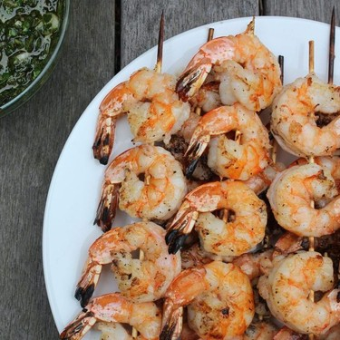 Grilled Shrimp with Scallion Salsa Verde Recipe | SideChef