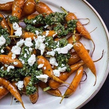 Roasted Carrots with Carrot Top Pesto Recipe | SideChef