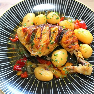 Braised Chicken with Potatoes, Peppers, and Onions Recipe   SideChef