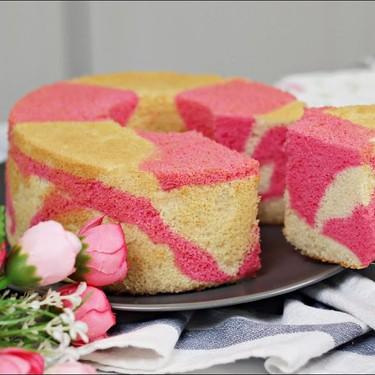 Two-Tone Strawberry Chiffon Cake Recipe | SideChef