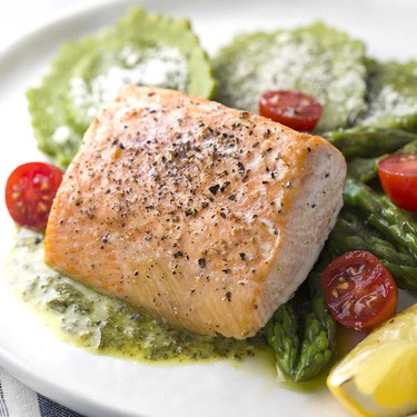 Roasted Salmon with Asparagus Ravioli Recipe   SideChef