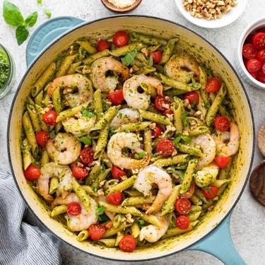 One-Pot Shrimp Pesto Pasta Recipe | SideChef