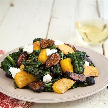 Roasted Kale & Beet Salad with Figs, Goat Cheese Recipe | SideChef