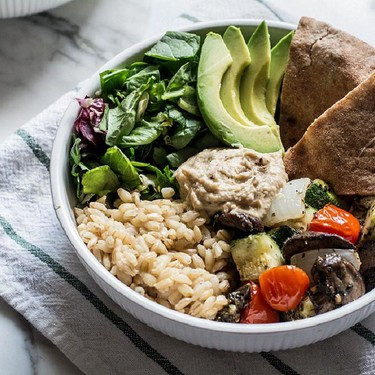 Roasted Veggie Grain Bowl with Avocado and Hummus Recipe | SideChef