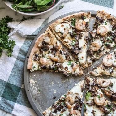 Gluten-Free Cheesy Garlic Shrimp and Mushroom Pizza Recipe | SideChef