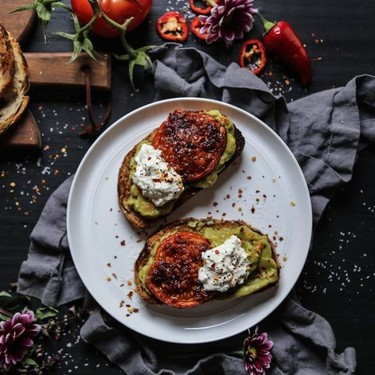 Easy Guacamole Toast with Thai Roasted Tomatoes Recipe   SideChef