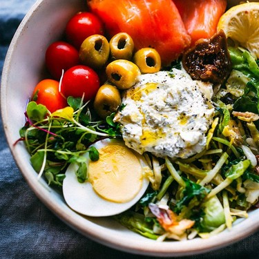 Salmon Goat Cheese Warm Greens Salad Recipe | SideChef
