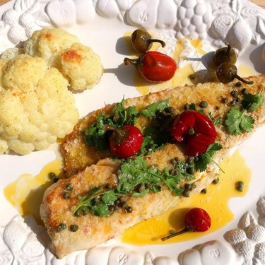 Baked Atlantic Cod Fillet, Cauliflower, Sweet Cherry Peppers and Capers Recipe   SideChef
