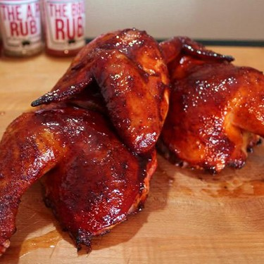 Smoked Half Chickens with a Spicy Peach BBQ Sauce Recipe | SideChef