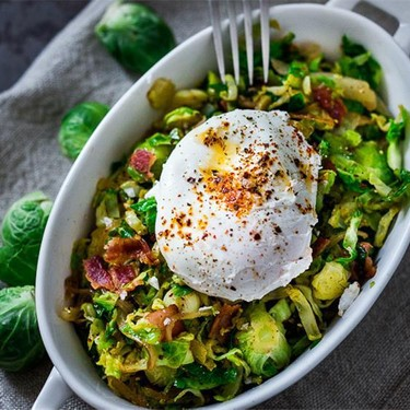 Brussels Sprout Hash with Soft Poached Egg Recipe | SideChef