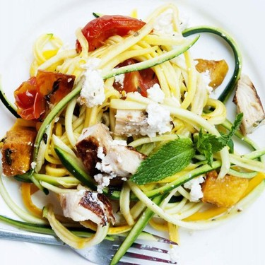 Zoodle Salad with Roasted Tomatoes and Chicken Recipe | SideChef