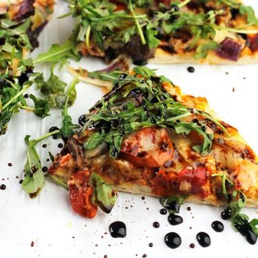 Roasted Veggie Pizza with Arugula Greens and Balsamic Glaze Recipe | SideChef