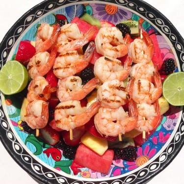 Grilled Shrimp Brochettes on Honey and Rum Macerated Fruits Recipe   SideChef
