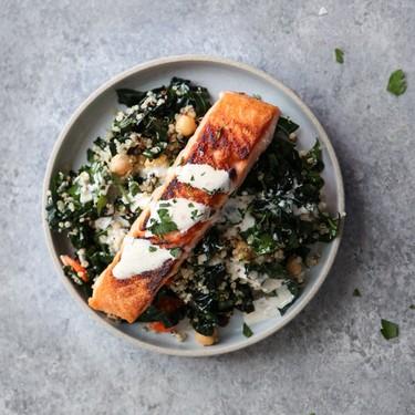 Salmon and Quinoa Bowl with Kale and Tahini Sauce Recipe | SideChef