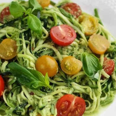 Raw Zucchini Spaghetti with Pesto Recipe | SideChef