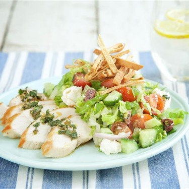 Greek Chicken Salad with Pita Croutons Recipe   SideChef