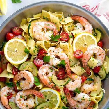 Shrimp Pasta with Lemon Garlic Sauce Recipe | SideChef