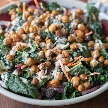 Roasted Chickpea Kale Salad with a Creamy Dressing Recipe | SideChef