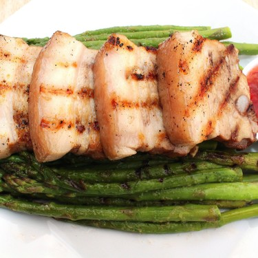 Grilled Pork Belly and Green Asparagus Recipe   SideChef