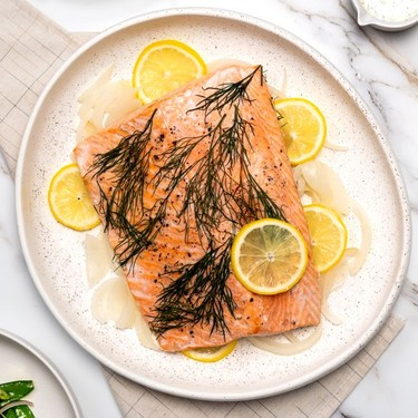 Baked Salmon with Spring Salad and Caper Yogurt Sauce Recipe | SideChef