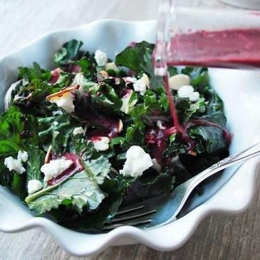 Almond Kalette Salad with Wild Blueberry Vinaigrette Recipe   SideChef